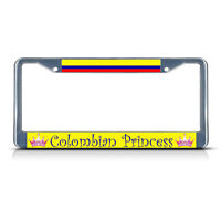 Colombia Colombian Princess Chrome Heavy Duty Metal License Plate Frame Tag