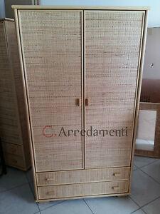 Dettagli su armadio 2 ante e 2 cassetti in vimini rattan bamboo stile  etnico mobile armadi