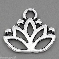 50PCs Gift Charm Pendants Lotus Flower Silver Tone 17mmx14mm