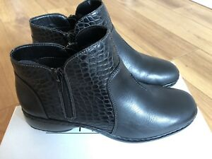 67212adf06688 BRAND NEW REIKER ladies fleece lined flat ankle boots in black ...