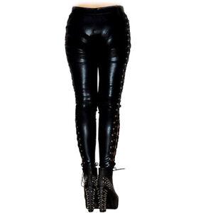 6bba492a5f81 New Low Waist Lace-up Black Faux Leather Bandage Pants Women PU ...