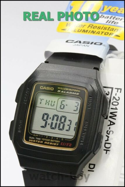 F-201WA-9A Black Resin Band Casio Watch LED light Water resistant Day Date