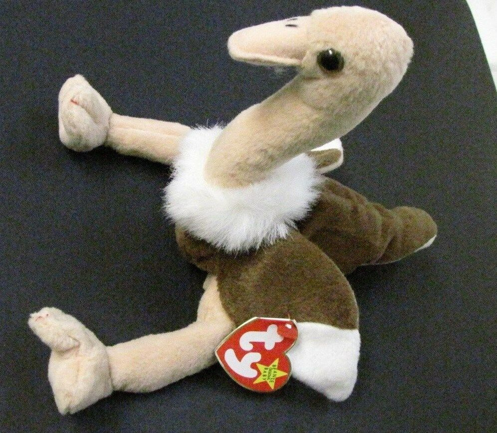 1997 Ty Beanie Baby Stretch Plush Ostrich With Errors And PENCILED TUSH TAG