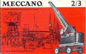 Vintage Meccano Construction Notice 2/3 Monoplan 3 Roues Voiture De Sport Bulldozer-afficher Le Titre D'origine