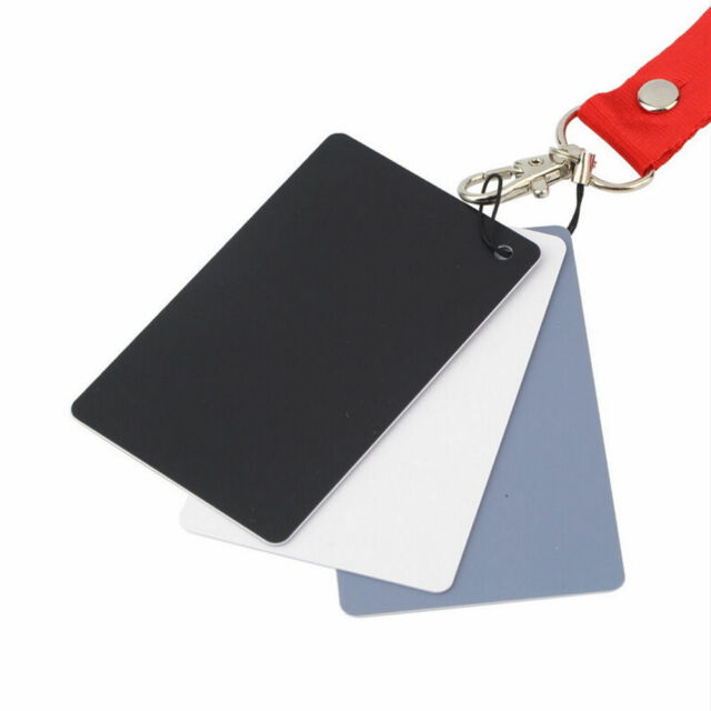3 in 1 Pocket-Size Digital White Black Grey Balance Cards 18% Gray Card EV