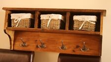Storage shelf. Coat rack with 3 x wicker baskets and antique clothes hooks