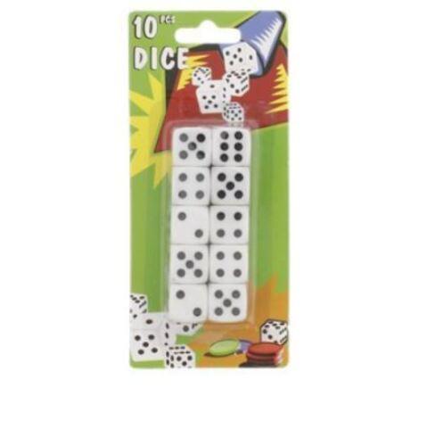 Lot 10 dés dé à Jouer Blancs 15X15 mm dés a jouer neuf