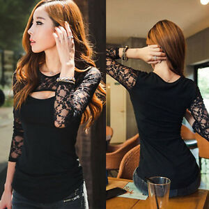 Fashion-Womens-Ladies-Shirts-Long-Sleeve-Shirts-Sexy-Lace-Slim-Blouse-Tops-AB