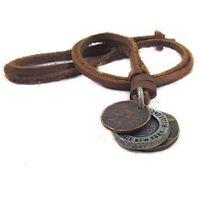 Men's Women Unisex Charm Choker 3 Archaic Coins Pendant Genuine Leather Necklace