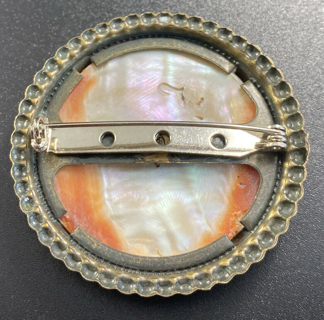 Vintage Mother Of Pearl Abalone Brooch Round Pron… - image 3