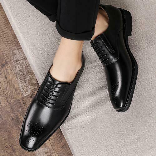 Details about  /Mens Faux Leather Business Leisure Shoes Pointy Toe Oxfords Lace up Wedding 44 L