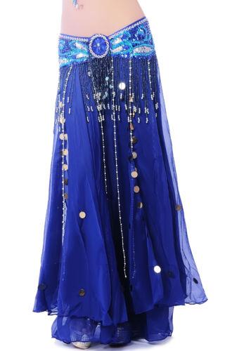 Professional Dancing Belly Dance Costume 2layers Chiffon Skirt Dress 11colors