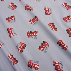 Stoff-Meterware-Baumwollstoff-Feuerwehr-grau-rot-Leiterwagen-Baumwolle-Kinder
