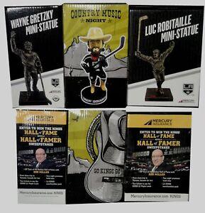 2x-Wayne-Gretzky-Luc-Robitaille-Mini-Statue-Drew-Doughty-Bobble-Head-SGA-New-Box