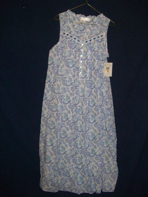 Eileen West Womens 100 Cotton Blue Floral Sleeveless Long Nightgown Small 7c60a0ea1