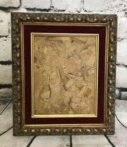 Antique-Gold-Gilt-Gesso-Solid-Wood-Deep-Frame-w-Red-Velvet-Trim-14-5x12-5