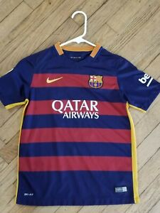 F C Barcelona Messi 10 Jersey Youth Large Qatar Airways Soccer Nike Euc Ebay