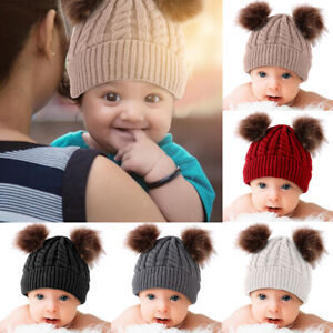 Lovely Toddler Girl Boy Kids Baby Infant Winter Warm Fur Pom Knit Hat Beanie Cap