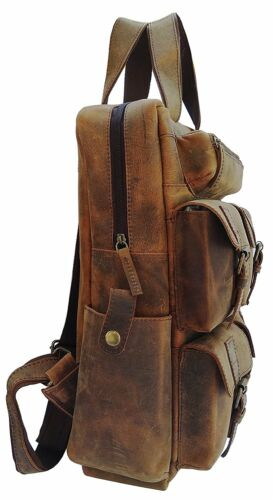 Men/'s Real Leather Backpack Laptop Bag Large Hiking Travel Camping Carry On New
