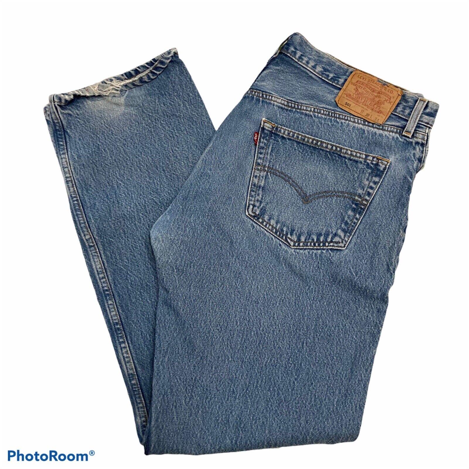 Vintage 90s Distressed Levis 501 Jeans 38x34 - image 1