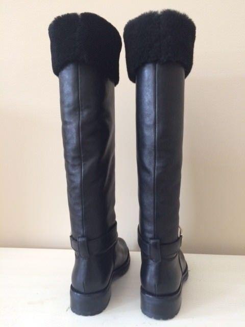 VERSACE COLLECTION CALFSKIN SHEARLING Taille 37 noir noir noir bottes a96f99