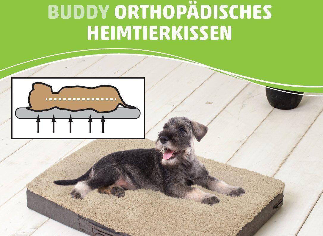 Buddy- orthopädisches Hundekissen viskoelastischer Schaumstoff Größe  L Braun