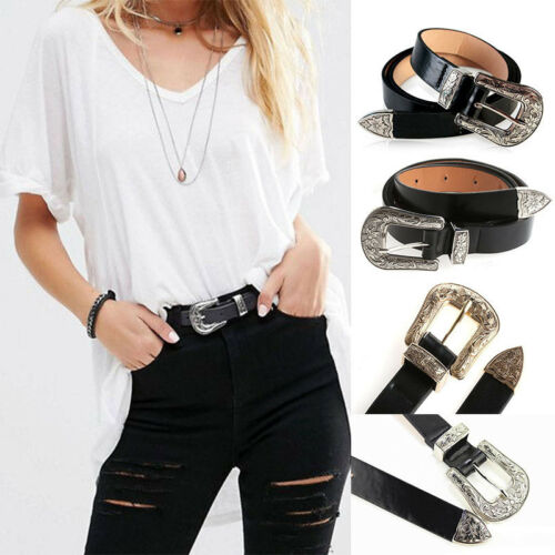 Mujeres Cuero Negro Western Cowgirl Cintura Cinturón Hebilla de metal única de banda de la cintura x1