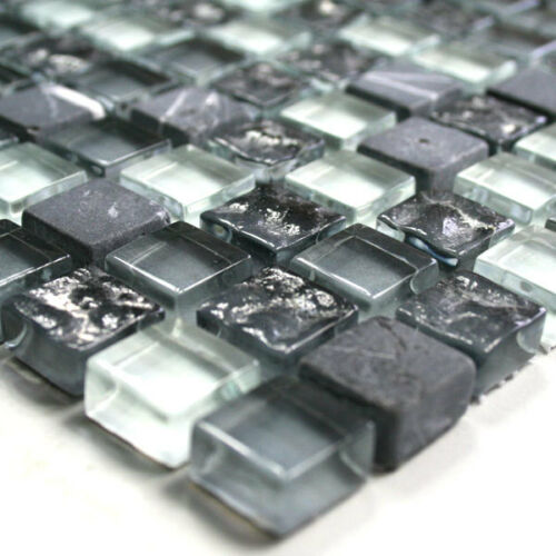 Glas Marmor Mosaik Fliesen Grau Weiss Mix