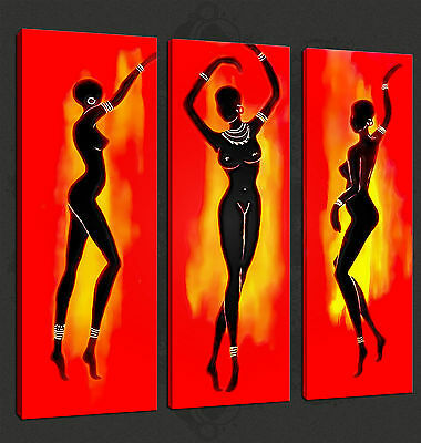 ABSTRACT AFRICAN DANCERS 3 PANELS CANVAS PRINT PICTURE WALL ART FREE UK P&P
