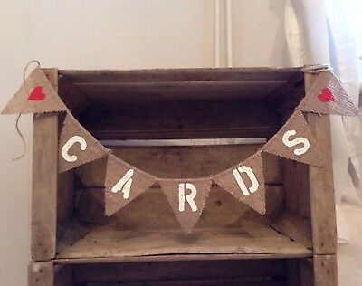 Hessian Burlap Cards Rustic Vintage Wedding Banner Mini Bunting