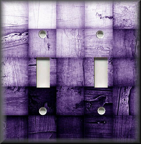 Metal Light Switch Plate Cover - Abstract Blocks Ombre Purple Modern Home Decor