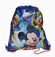Lot 6 Disney Mickey Mouse Children Drawstring Backpack Blue Non-woven Sling Bag