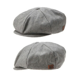 3d8971ce5849 Details about Unisex Mens Plain Solid Color Baker Boy Newsboy Gatsby Flat  Cap Cabbie Hats Gray