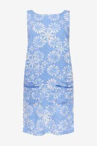 Next Blau Gänseblümchen Blumenmuster Leinen Mischung Etuikleid Größe 12 Nwt Rrp £ 28 Urlaub