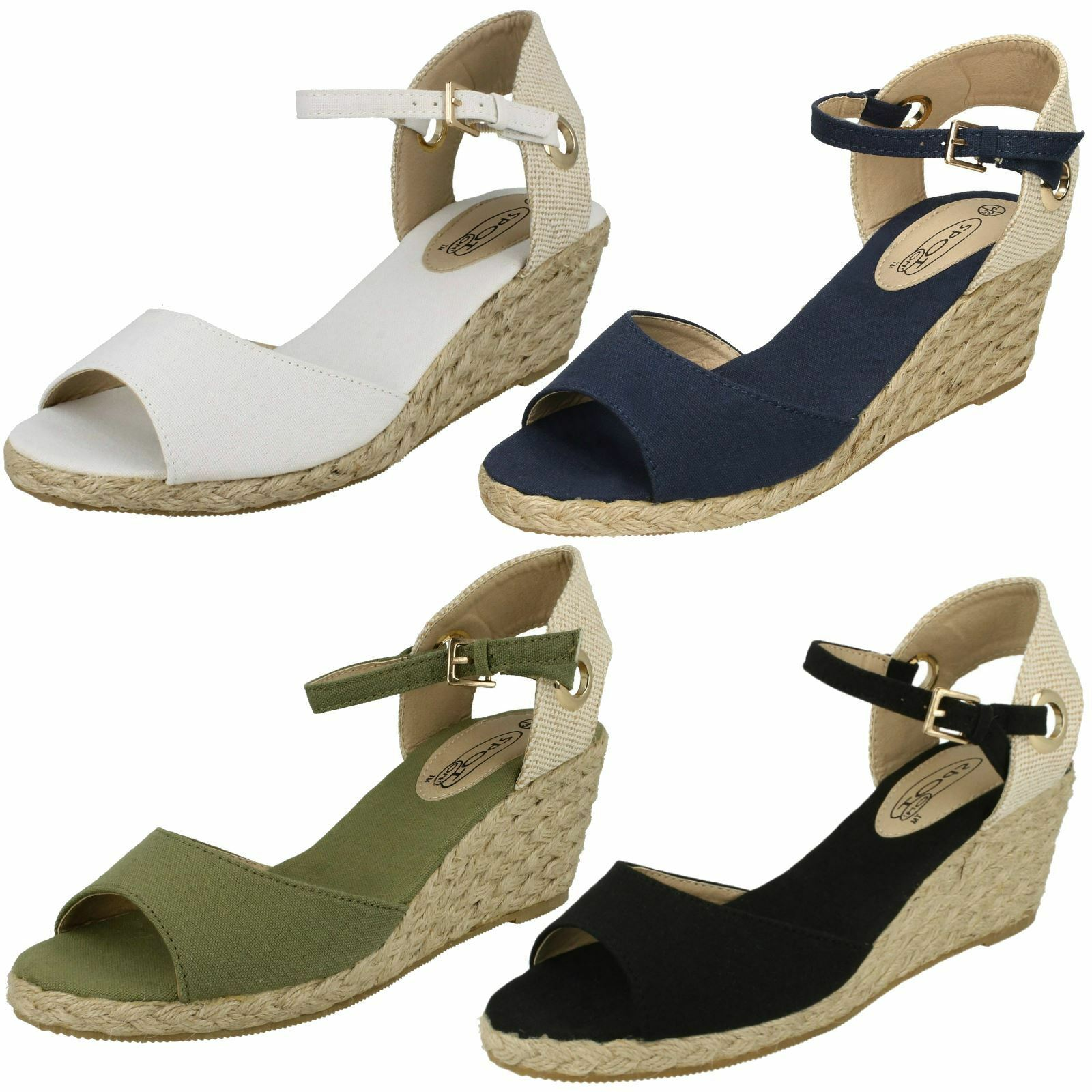 Ladies Spot Ankle On Ankle Spot Buckle Wedged 'Sandals' 84a955