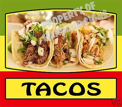 "Tacos Decal 14"" Mexican Latino Food Truck Restaurant Concession Cater Vinyl Menu"
