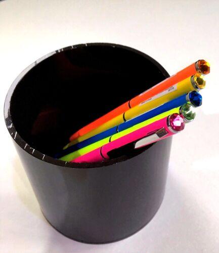 Metal Pen Neon Ballpoint Coloured with Swarovski Crystal Stone 5 Colours