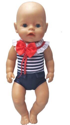 Puppenkleidung 43 cm zb maritim Baby Born//Sister NEU blau//weiss Badeanzug