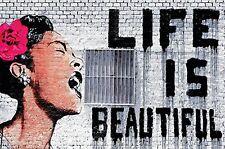 GREAT ART Banksy Wanddekoration - Wandbild Life is beautiful Motiv XXL Poster