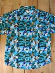 5090d329 Image is loading Hawaiian-Shirt-Tiki-Blue-Parrot-Bird-50s-Rockabilly-