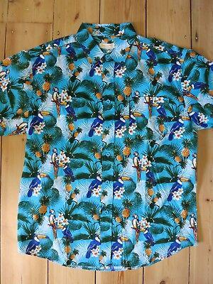 Hawaiian Shirt Tiki Blue Parrot Bird 50s Rockabilly Kustom Green Mens S - 6XL