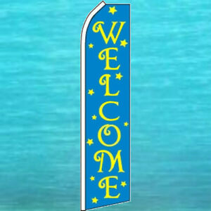 WELCOME-FLUTTER-FLAG-Tall-Advertising-Sign-Feather-Swooper-Banner-Event-1382