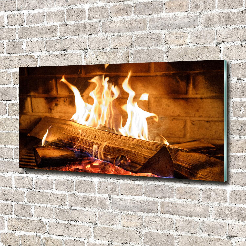 Wandbild aus Plexiglas® Druck auf Acryl 140x70 Sonstige Holz im Kamin