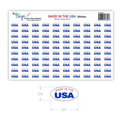 "Oval ShapeMade in USA sticker100 count.375/"" x .75/""outdoor safe label"