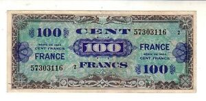 Francia-France-100-franchi-WWII-1944-BB-VG-Pick-118-lotto-2151