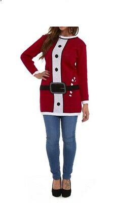 New Ladies Christmas Jumper Day Retro Knitted Tunic Santa Mrs Claus  Red Dress