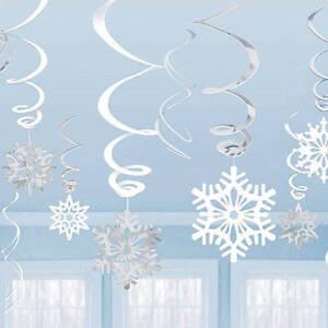 hanging twirling snowflake decorations metallic foil winter