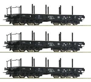 Roco-H0-46380-S-Schwerlastwagen-034-Bauart-Rlmmp-034-der-DB-3-Stueck-NEU-OVP