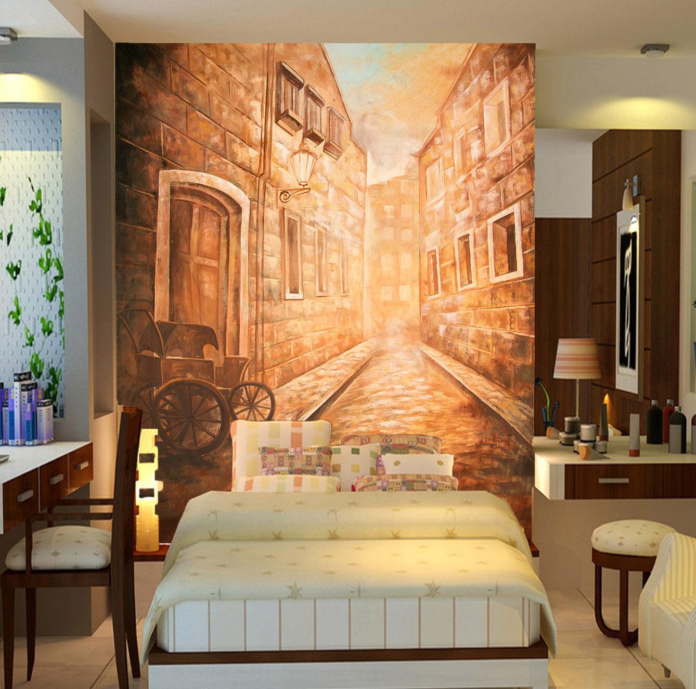 3D Ville Ruelle 13 Photo Papier Peint en Autocollant Murale Plafond Chambre Art