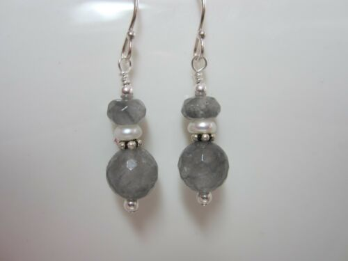 Handmade .925 Sterling Drop Earrings Cloudy Quartz Double Stone